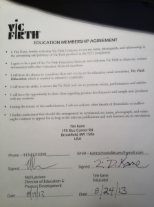 Vic Firth contract