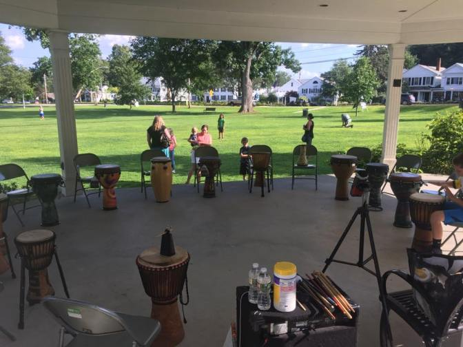 Kids Compose Own Percussion Song on Sturbridge Town Common
